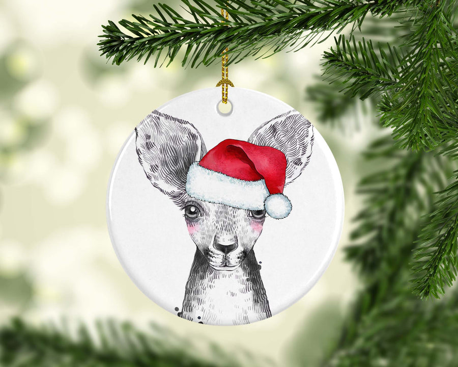 Plain Ceramic Christmas Ornament Kangaroo Australian Animals