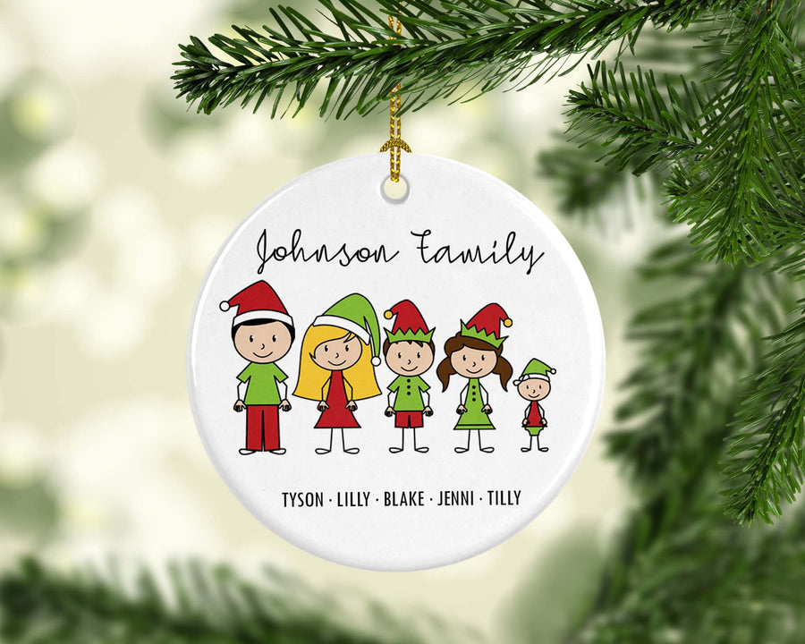 Personalised Ceramic Christmas Ornament Stick Figure Family