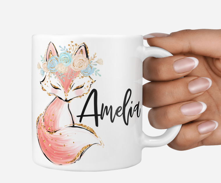 Personalised Floral fox name mug