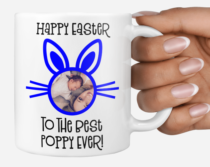 Personalised photo Blue easter gift mug