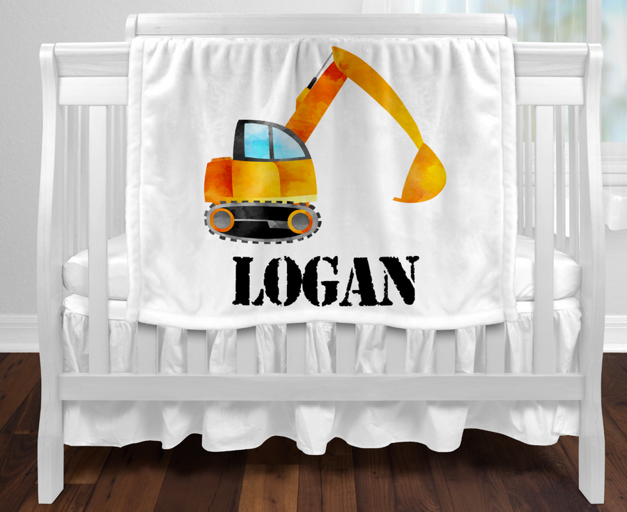Personalised baby blanket - Construction excavator
