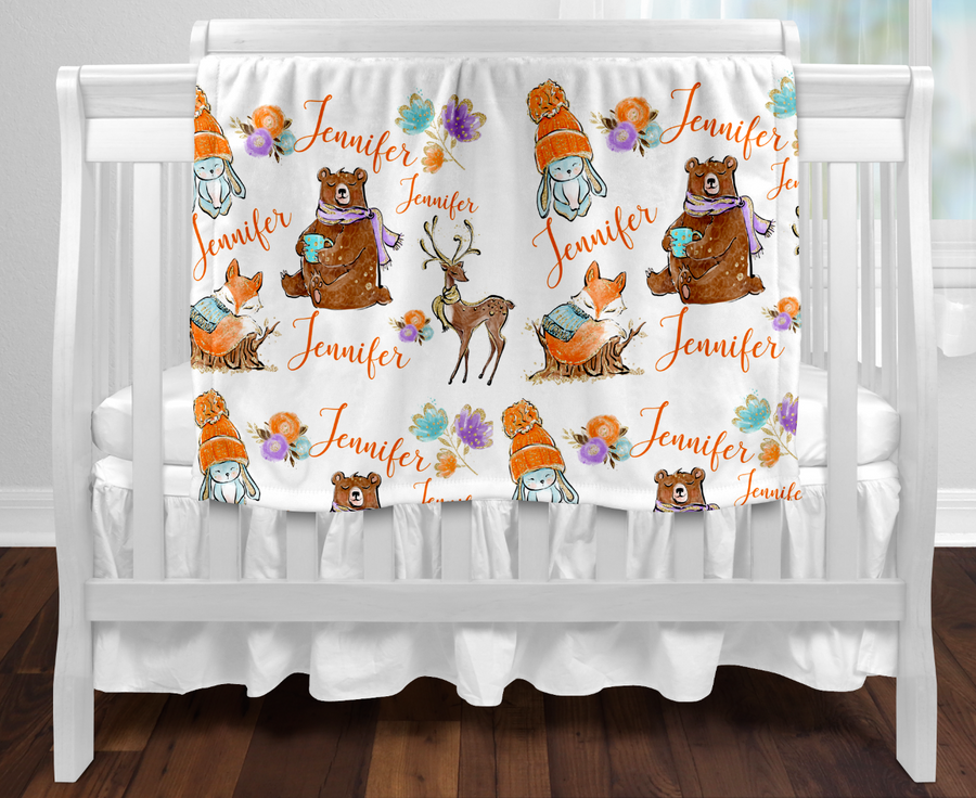 Personalised baby blanket - All over winter woodland animals name print