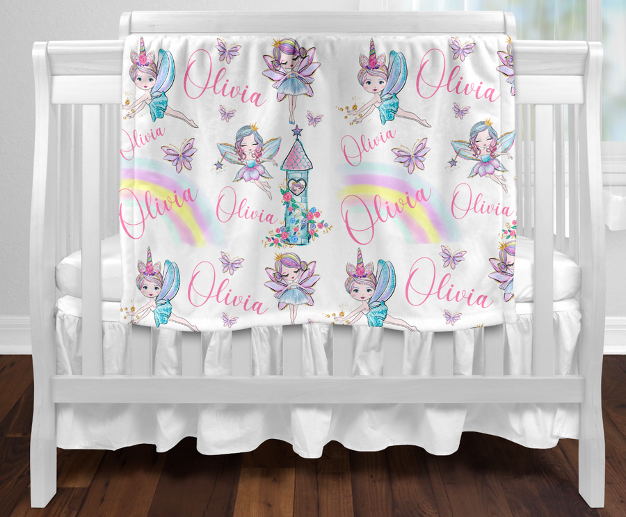 Personalised baby blanket - All over fairy name print