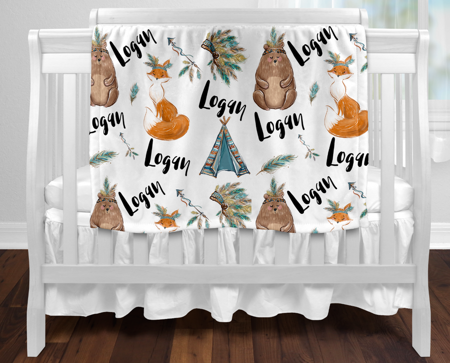 Personalised baby blanket - All over Woodland Tribal name print