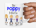 Personalised father's Day mug stick figure family Poppy