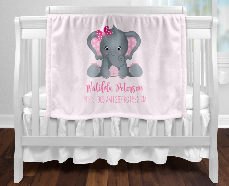 Personalised Baby Blanket Elephant Birth Details - Pink