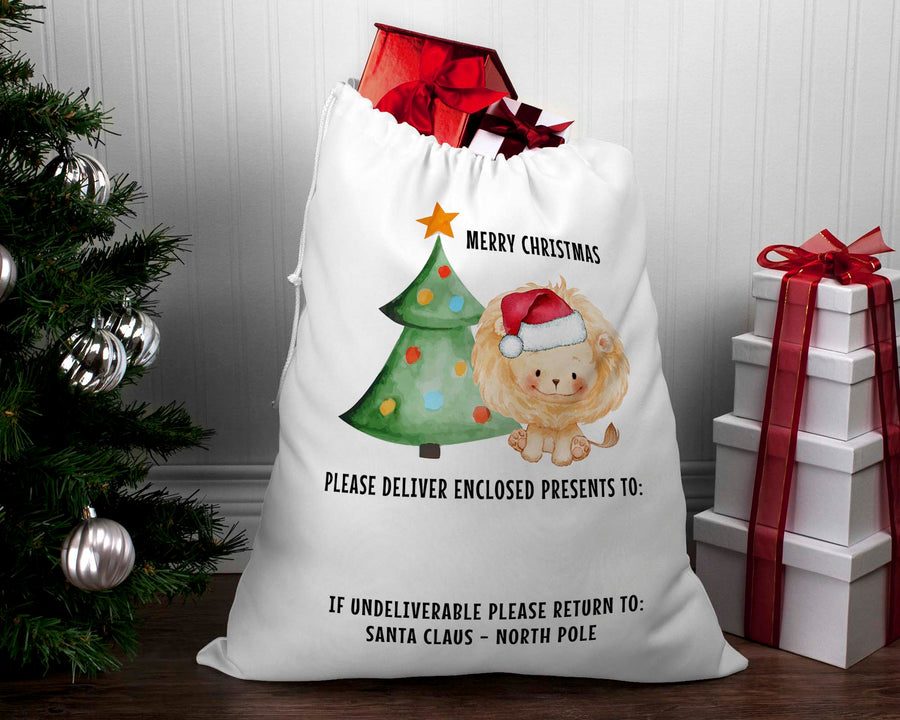 Personalised Santa sack Christmas Lion
