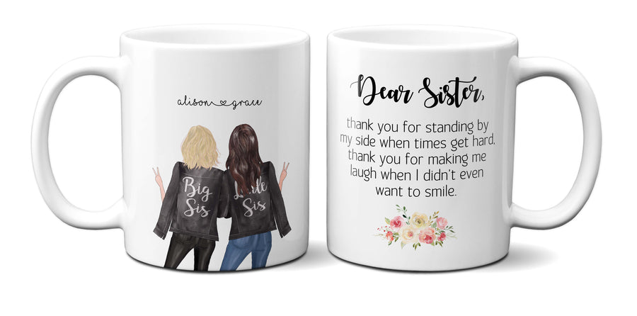BFF best friend besties quote personalised Christmas mug Dear Sister Family Gift