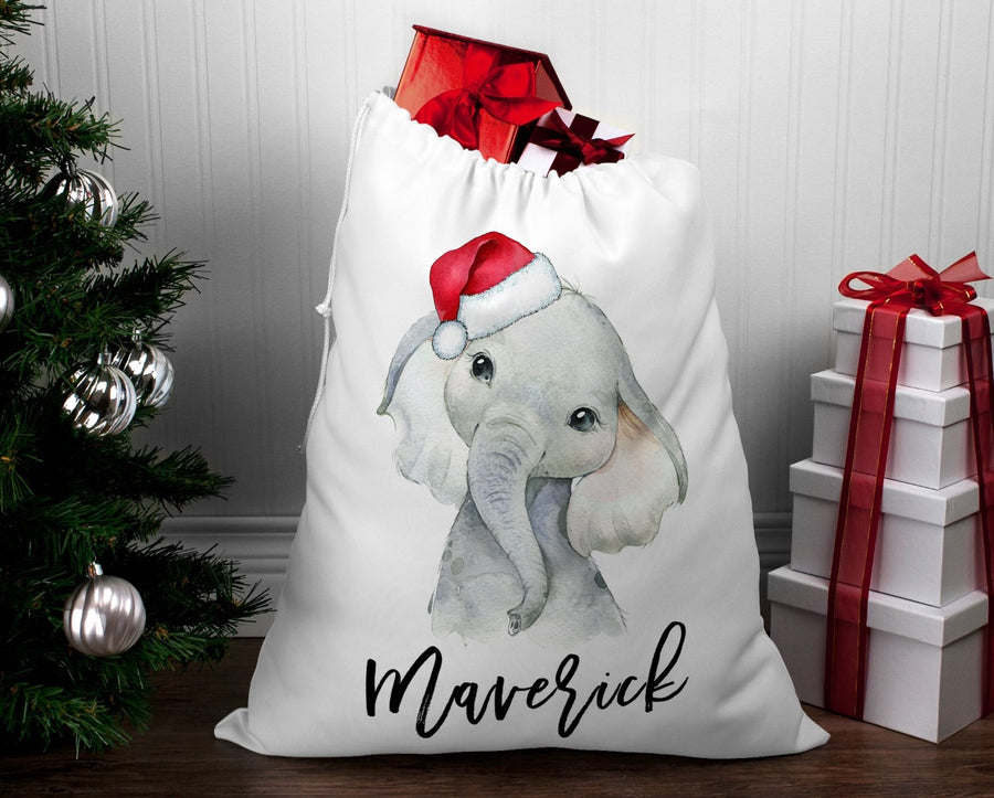 Personalised Santa sack Christmas Elephant