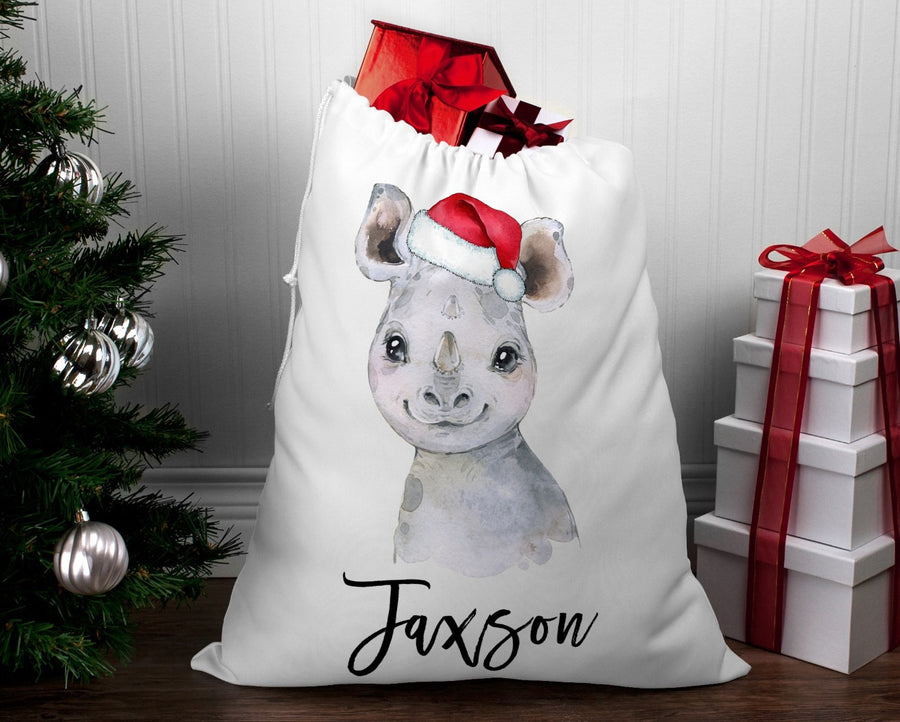 Personalised Santa sack Christmas Rhino
