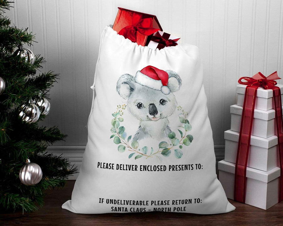 Personalised Santa sack Christmas Koala wreath #2
