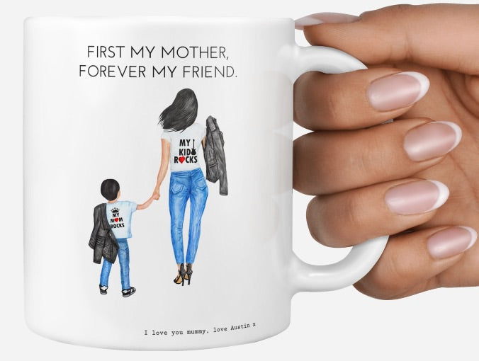 Personalised Mother's Day mug first my mother forever my friend