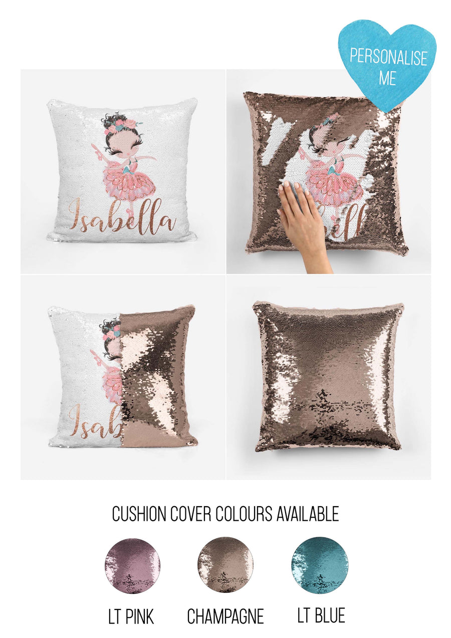 Personalised Magic sequin Ballerina cushion cover