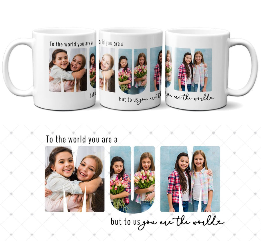 Personalised Mother's Day photo mug to us you are the world