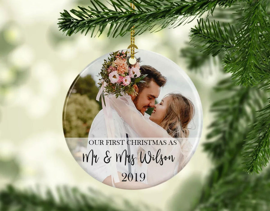 Personalised  Photo Ceramic Christmas Ornament Our First Christmas As
