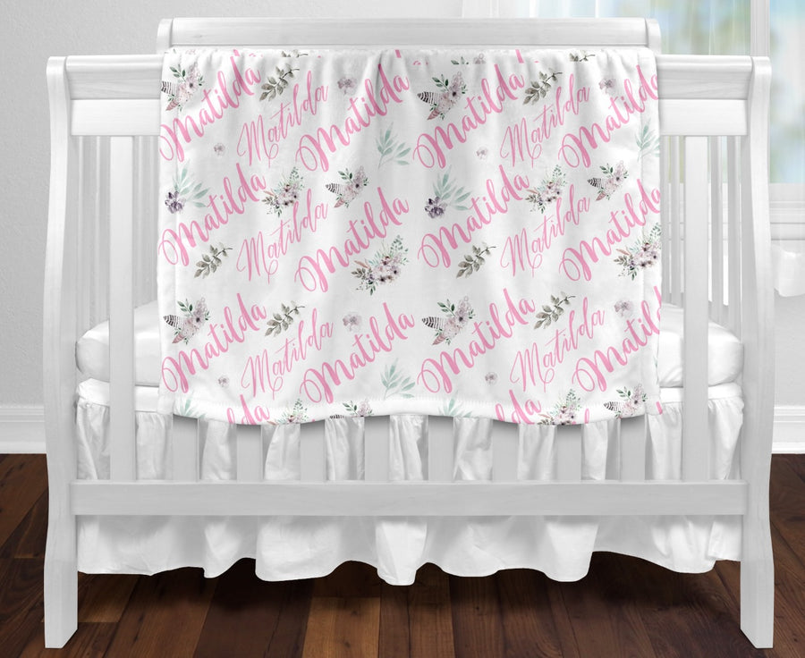 Personalised baby blanket - All over Pastel floral name print