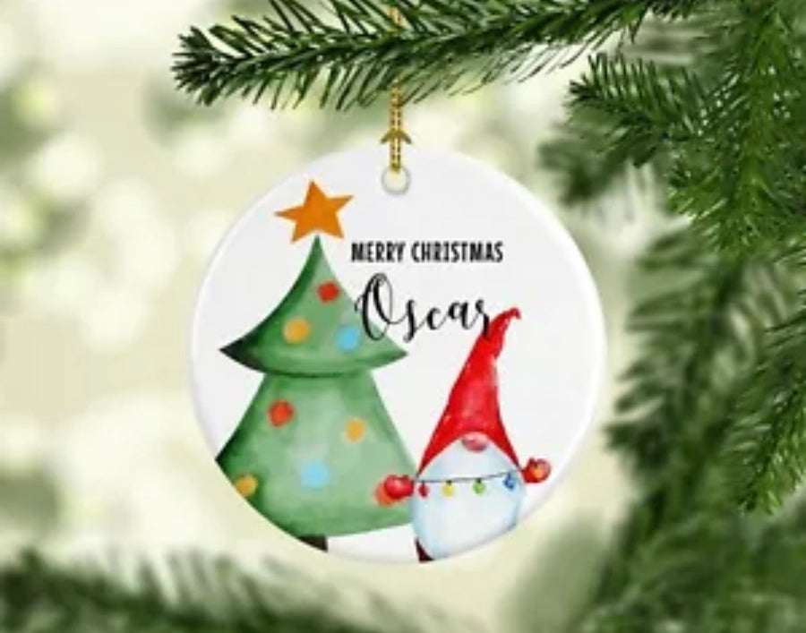 Personalised Ceramic Christmas Ornament Gnome