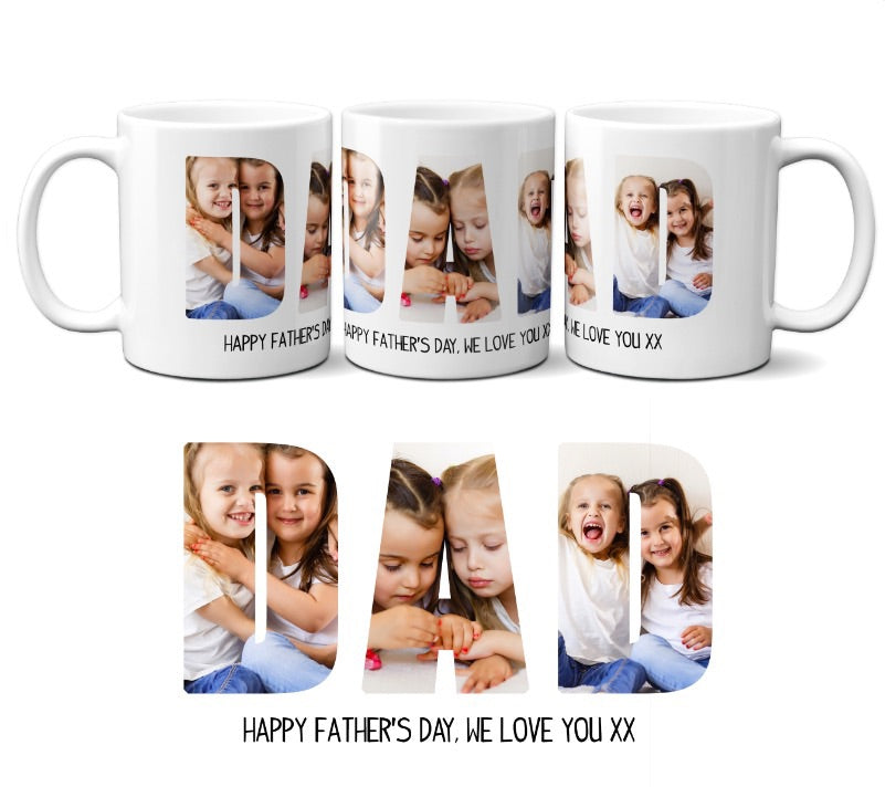 Personalised Father's Day photo mug Happy Father's Day, we love you x