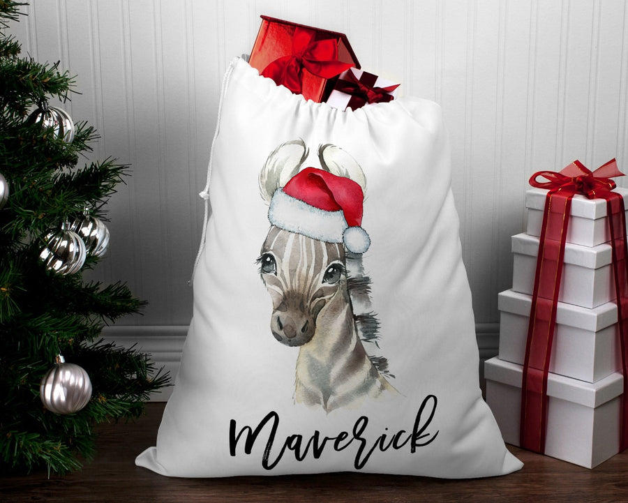 Personalised Santa sack Christmas Zebra