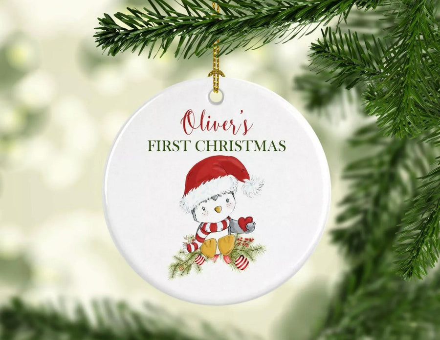 Personalised Ceramic First Christmas Ornament Penguin