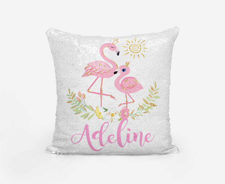 Personalised Magic sequin Flamingo cushion cover