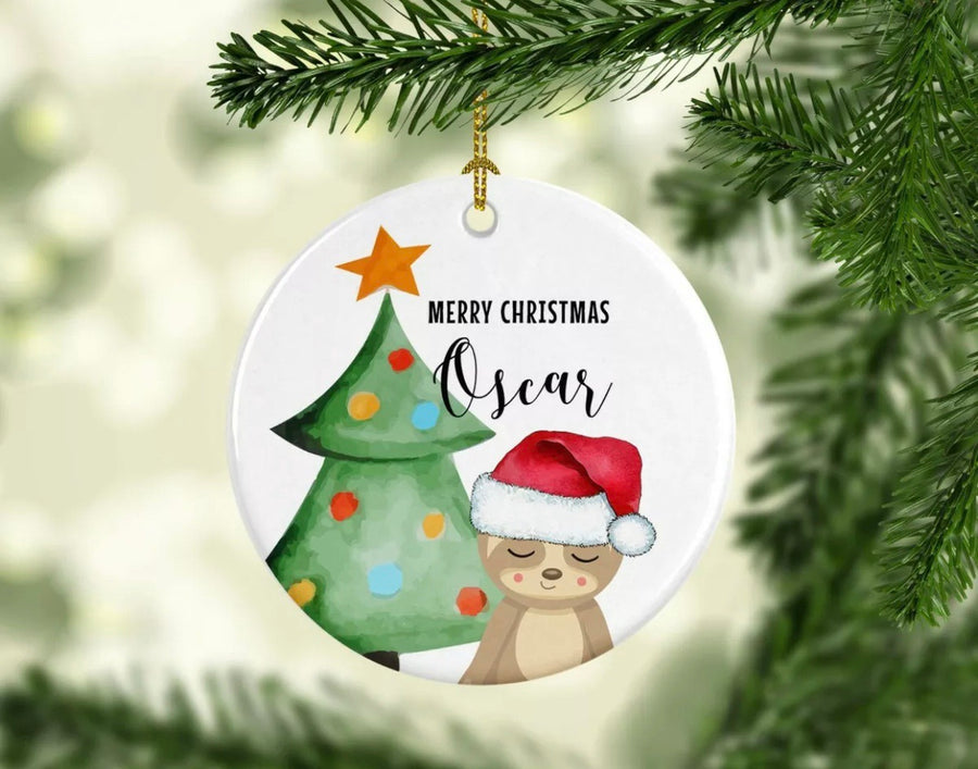 Personalised Ceramic Christmas Ornament Sloth