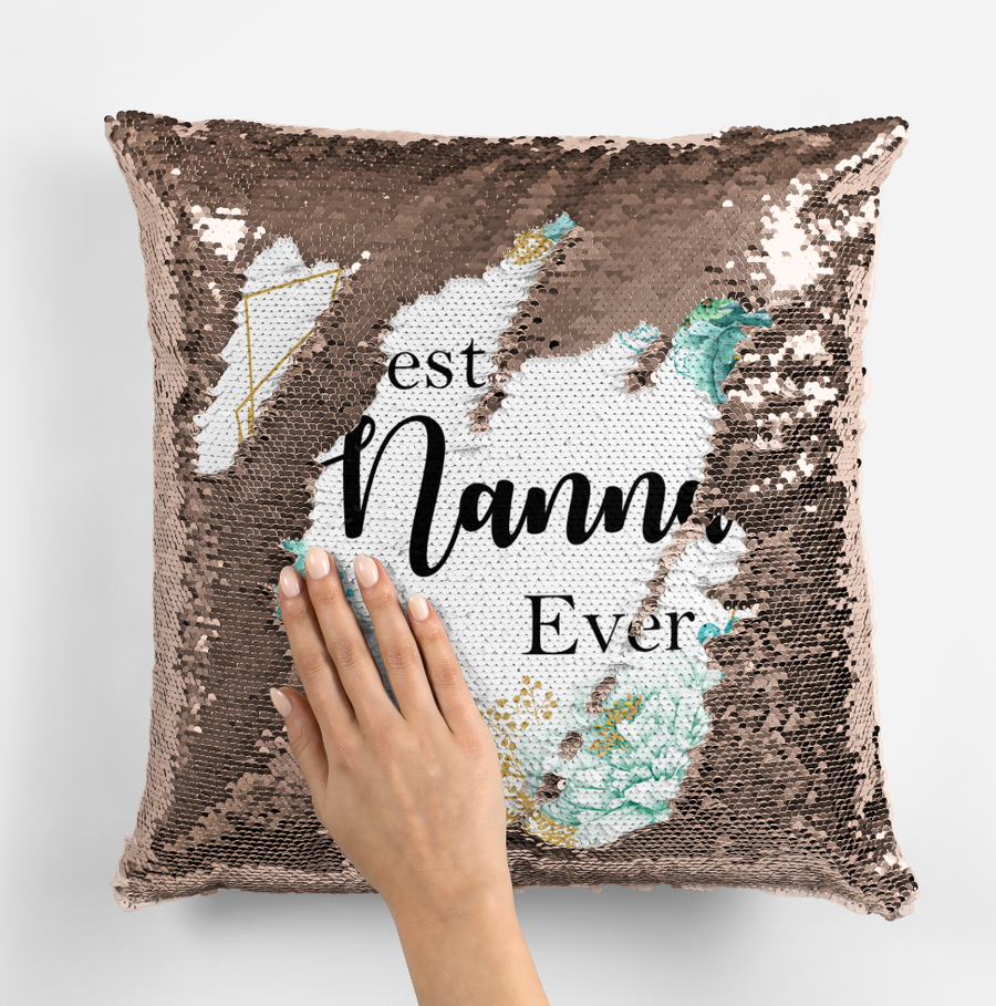 Personalised Magic sequin best Nanna ever cushion cover