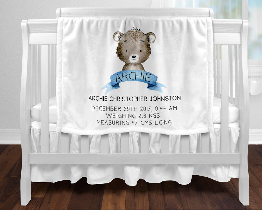 Personalised baby blanket - Birth bear