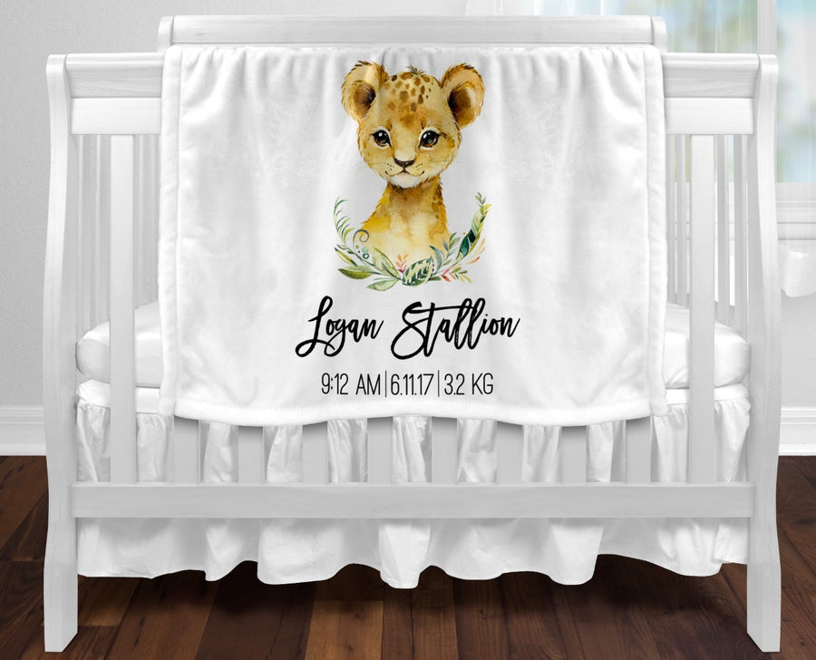 Personalised baby blanket - Birth details Lion