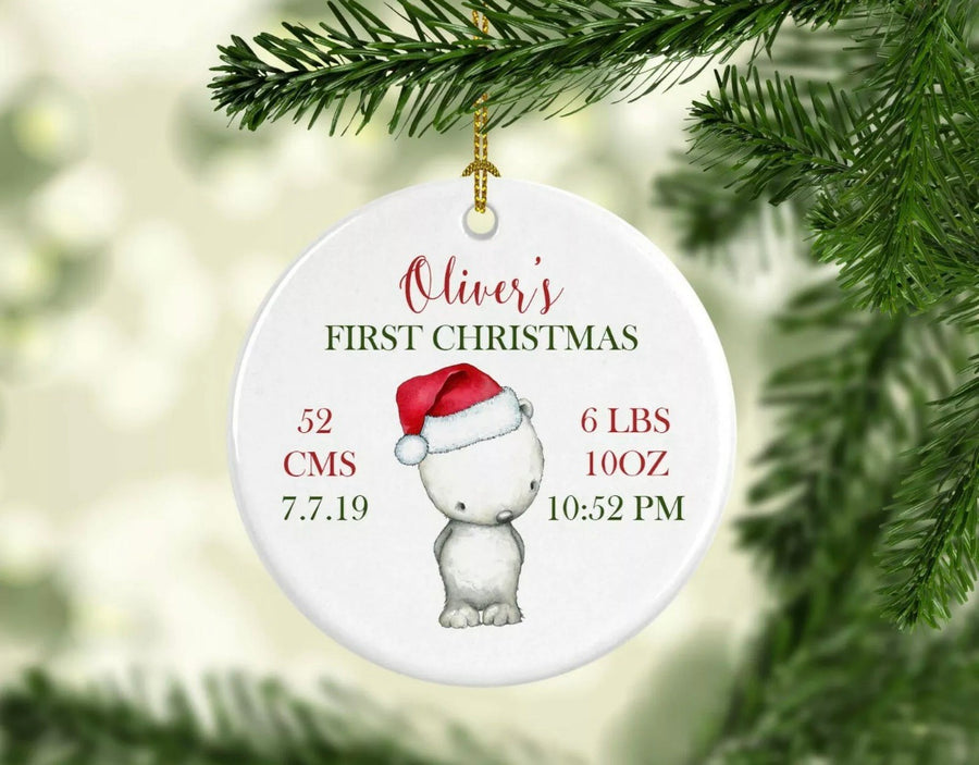 Personalised Ceramic Christmas Ornament Bear birth details