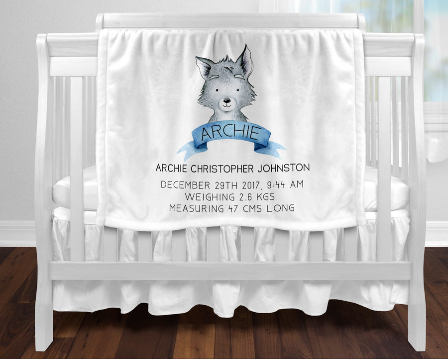 Personalised baby blanket - Birth wolf