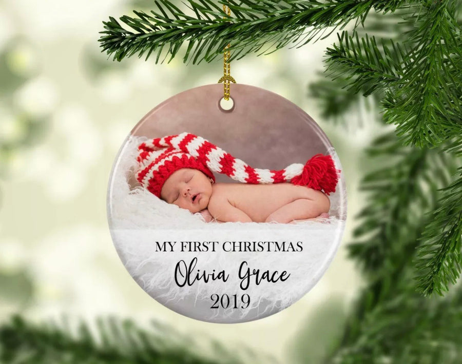 Personalised Ceramic Christmas Ornament Photo Gift My First Christmas