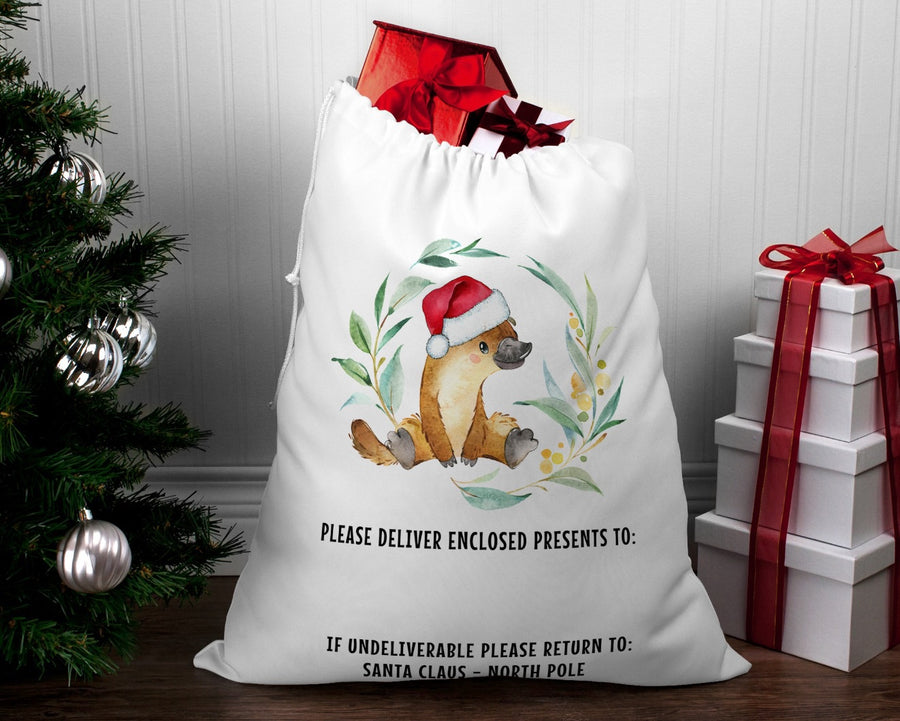 Personalised Santa sack Christmas Platypus wreath