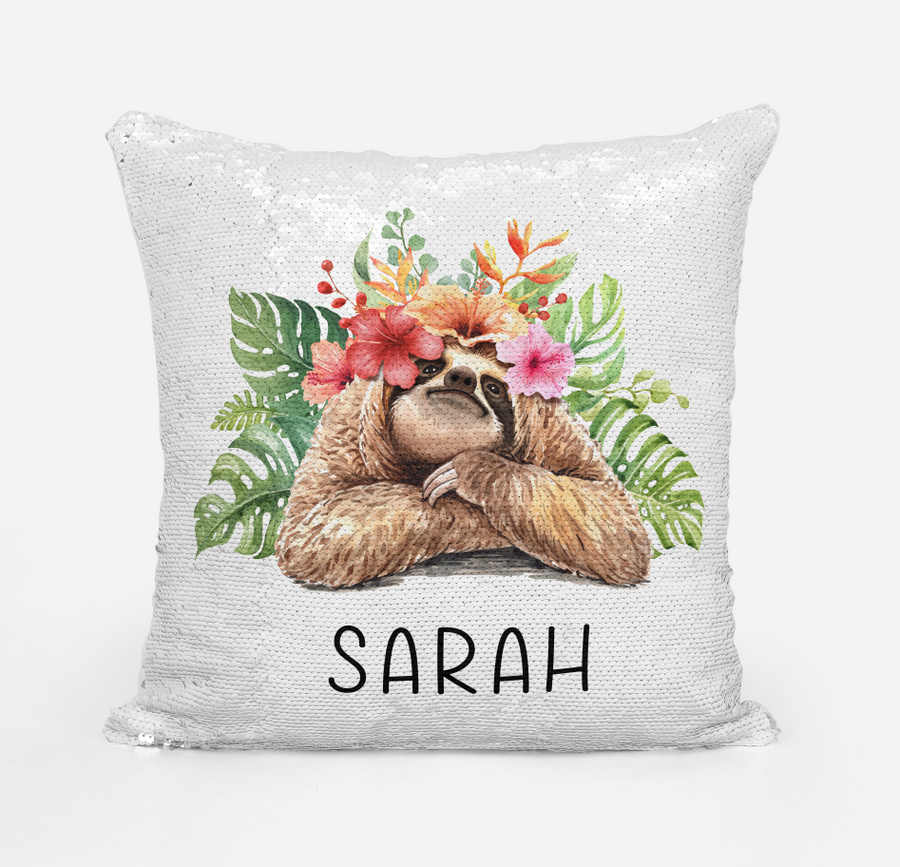 Personalised Magic sequin Sloth cushion cover