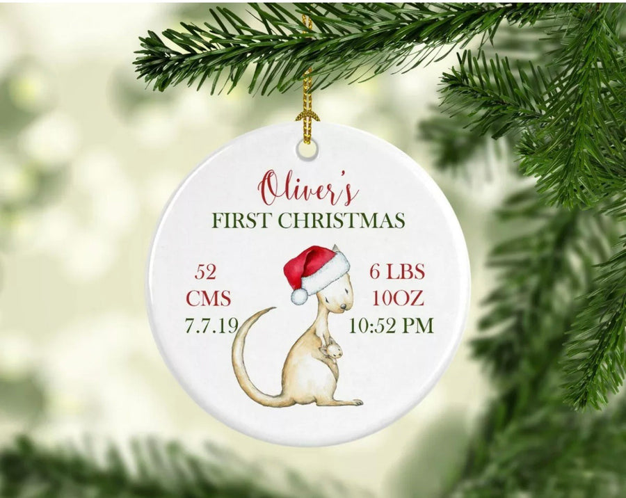 Personalised Ceramic Christmas Ornament Kangaroo birth details