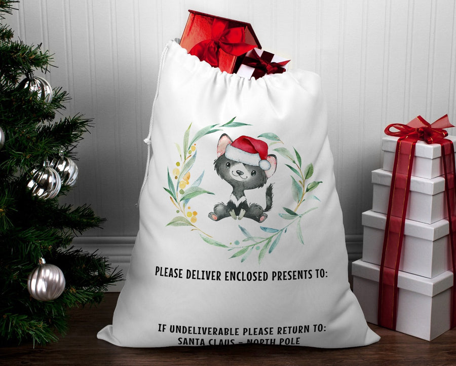 Personalised Santa sack Christmas Tassie devil wreath