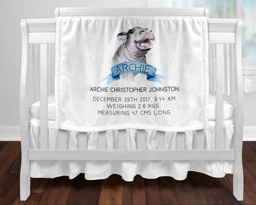 Personalised baby blanket - Birth hippo