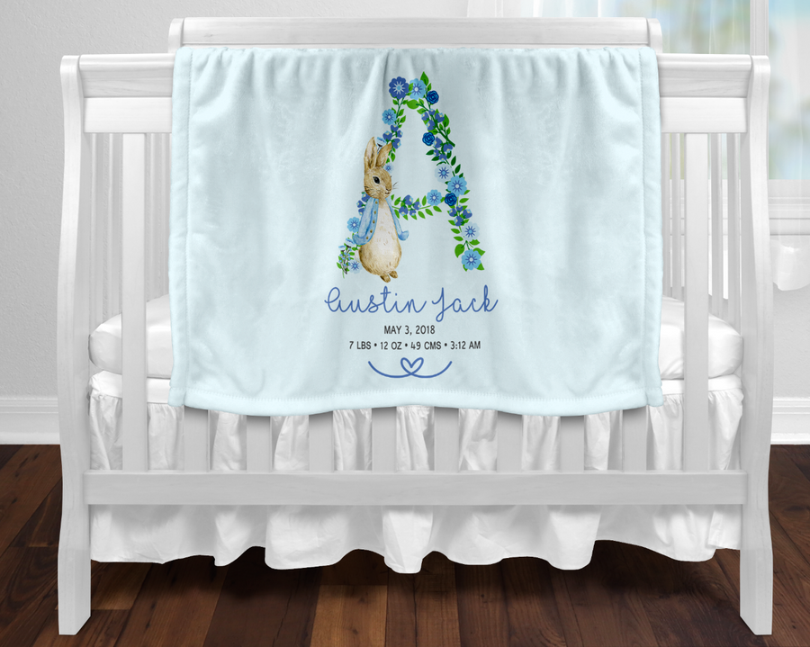 Personalised baby blanket - Birth details floral Blue Peter Rabbit