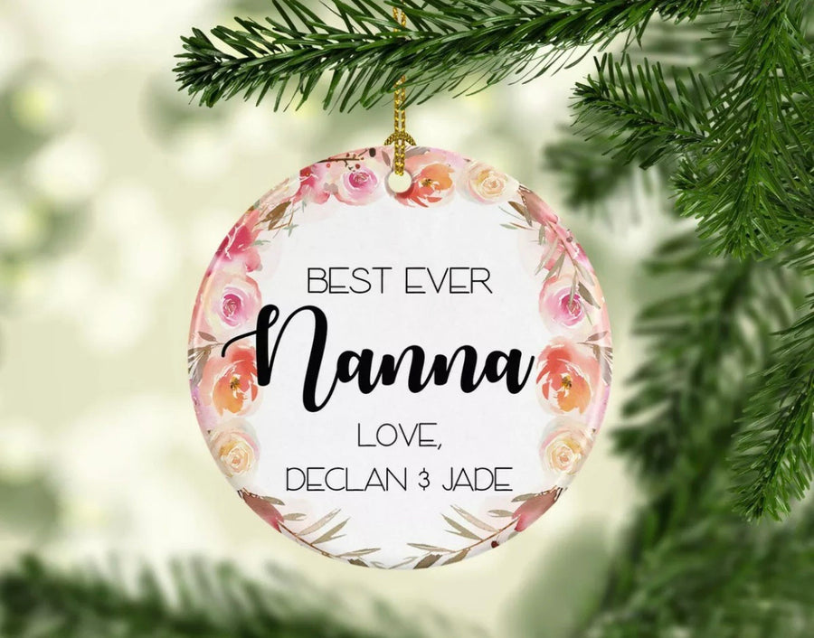 Personalised Ceramic Christmas Ornament Best Nanna Ever