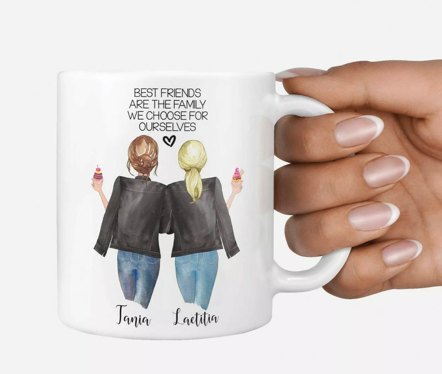 BFF best friend besties quote personalised Christmas mug Best Friends are the Family