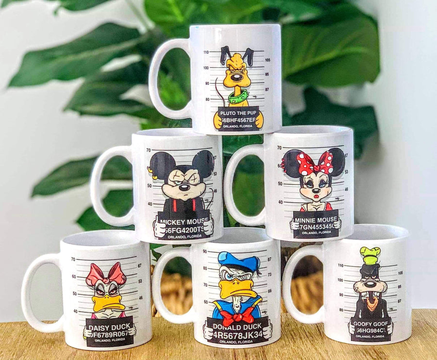 Set of 6 Disney character mugs