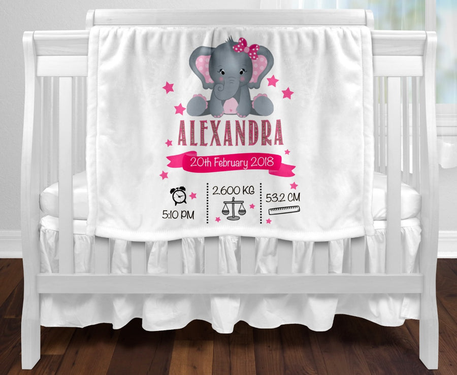 Personalised baby blanket - Birth details pink elephant