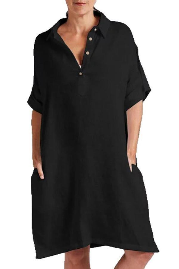 Paneled Solid Buttoned Shirt Collar Pockets Casual Midi Dress