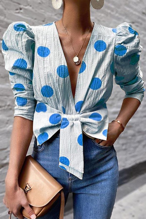 Polka Dots Print Knot Front Plunging Neck Puff Sleeve Blouse