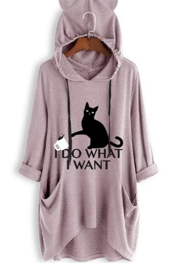 Casual Print Drawstring Paneled Pockets Cat Ear Hoodie