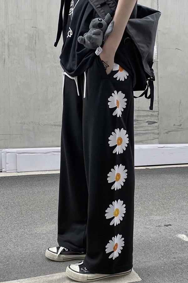 Daisy Print Elastic Paneled Pockets Casual Wide Leg Pants