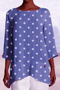 3/4 Length Sleeve Polka Dot Irregular Hem T-shirts