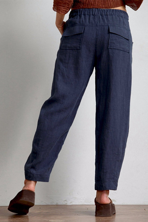 Solid Side Pockets Buttoned Casual Long Pants