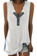Solid Slit Buttoned Crew Neck Sleeveless Vests