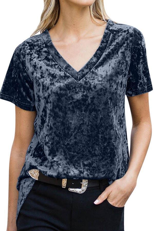 Paneled Solid High Low V-neck Casual T-shirt